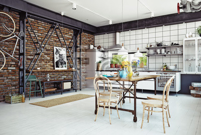 Loft küche wandposter • poster appartment, skandinavisch, Schelf ...