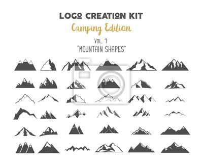 Poster Logo-Erstellung Kit Bundle. Camping Edition eingestellt. Berg Vektor Formen und Elemente Erstellen Sie Ihre eigenen Outdoor-Label, Wildnis Retro-Patch, Abenteuer Vintage Abzeichen, Wandermarken. Überp
