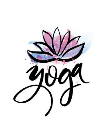 Poster Logo für Yogastudio oder Meditationsklasse. Spa-Logo-Design Aquarell-Elemente. Meditationskonzept Schattenbild Lotos Vektor-Illustration für T-Shirt drucken