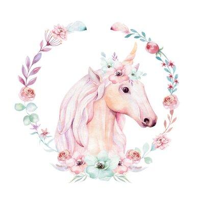 Poster Lokalisiertes nettes Aquarell Unicorn Clipart mit Blumen. Kinderzimmer Einhörner Illustration. Prinzessin Regenbogen Poster. Trendy rosa Cartoon Pony Pferd.