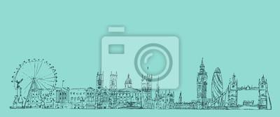 London, England Jahrgang gravierte Darstellung, von Hand gezeichnet