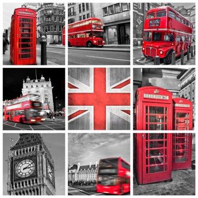 Poster London Fotos Collage, selektive Farb