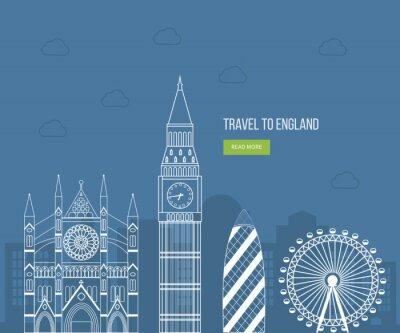 Poster London, Großbritannien flache Ikonen Design Reise-Konzept. London