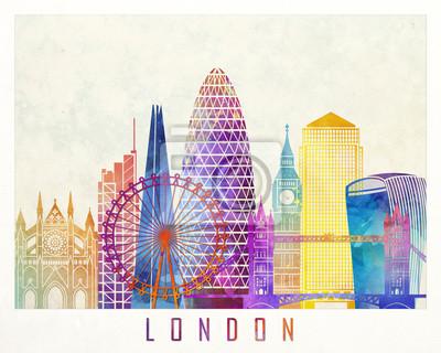 London Sehenswürdigkeiten Aquarell Poster
