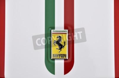 Poster LONDON - SEPTEMBER 4, 2011: Ferrari logo, Italian flag painted on the bodywork of a Ferrari 360 Challenge Stradale