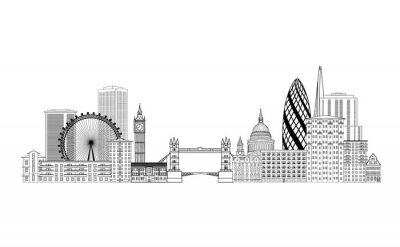 London Skyline der Stadt. London Stadtbild mit berühmten Sehenswürdigkeiten und Gebäude