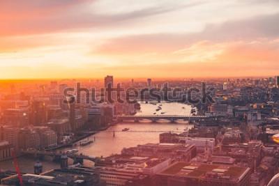 Poster London-Skyline - Themse - Sonnenuntergang - Sommer - Himmel-Garten - Orange