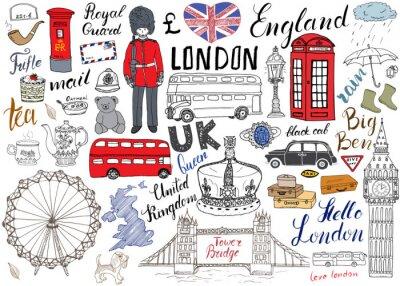 Poster London Stadt doodles Elemente Sammlung. Hand gezeichnetes Set mit, Turmbrücke, Krone, Big Ben, königlicher Schutz, roter Bus und schwarzes Fahrerhaus, UK-Karte und Flagge, Teetopf, Beschriftung, Vekto