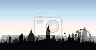 London Stadt Gebäude Silhouette. Englische Stadtlandschaft. Londo