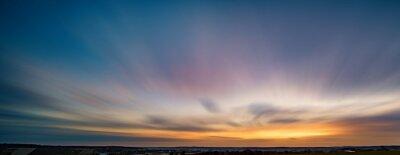 Poster Long exposure sunset panorama with beautiful sky