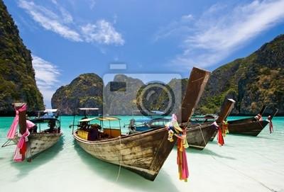 Long Tail Boat at Maya bay, PhiPhi Island , Phuket Thailand
