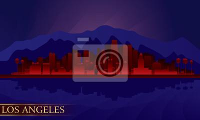 Los Angeles Nacht Skyline der Stadt detaillierte Silhouette