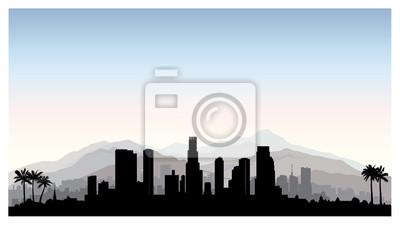Los Angeles, Skyline der USA. Stadt Silhouette mit Wolkenkratzer Gebäuden, Berge und Palmen. Berühmtes amerikanisches Stadtbild