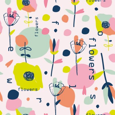 Lovely colorful retro flowers pattern.