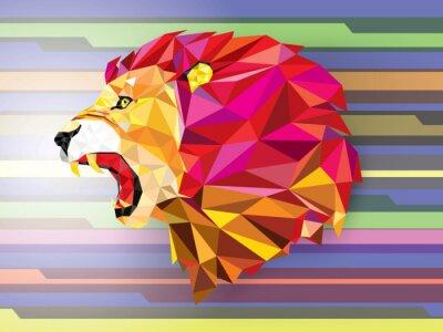 Poster Low Polygon Llion geometrische Muster auf abstrakte Hintergrund-Vect