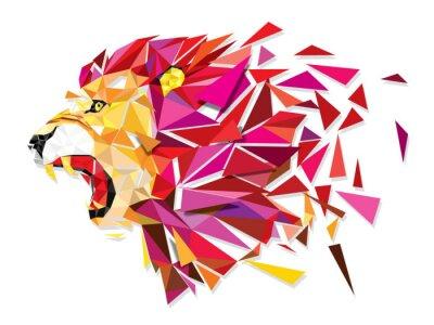 Poster Low Polygon Llion geometrische Muster Explosion - Vector illustratio