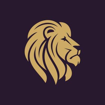 Poster Löwenkopf Logo oder Symbol in einer Farbe. Abbildung.