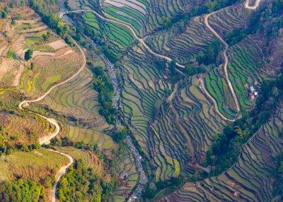 Poster Luftaufnahme der Reisfelder in der Nähe von Pokhara