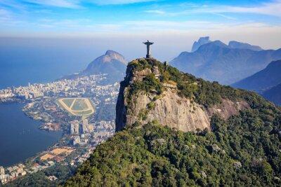 Poster Luftaufnahme von Christus der Erlöser und Rio de Janeiro Stadt