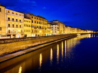 Lungarni of Pisa at night, Tuscany, Italy