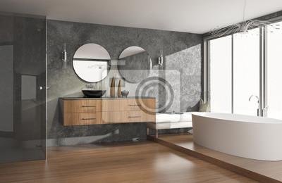 Poster: Luxuriöses modernes badezimmer mit freistehender badewanne
