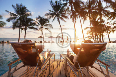 Poster luxury travel, romantic beach getaway holidays for honeymoon couple, tropical vacation in luxurious hotel