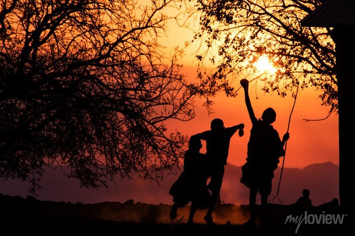 Poster Maasai Kids Silhouette