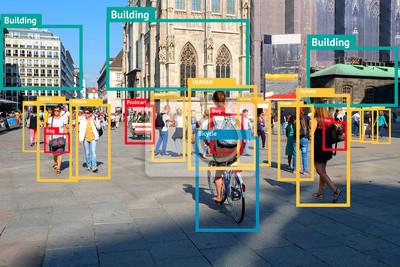Poster Machine Learning Objekt Erkennung und künstliche Intelligenz Konzept. Anwendung erkennt Objekt im Bild. (Unschärfe menschliches Gesicht)