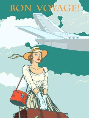 Poster Mädchen Passagier Flugzeug Bon Voyage