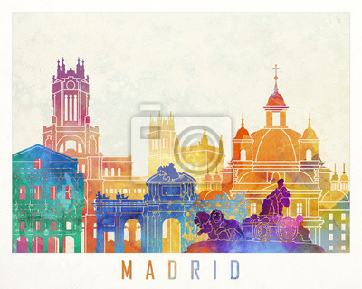 Madrid Sehenswürdigkeiten Aquarell Poster