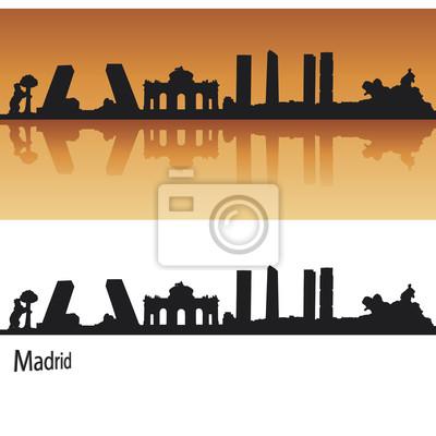 Madrid Skyline in orange