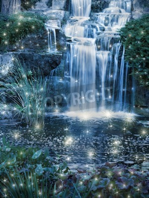Poster Magic night waterfall scene