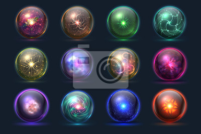 Poster Magical crystal orbs. Glowing magic balls, mysterious paranormal wizard spheres. Vector set of crystal orb and ball sphere illustration