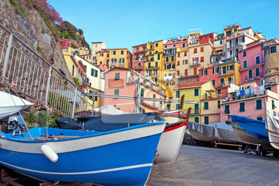 Magical landscape with boats on the streets of Manarola in Cinque Terre, Liguria, Italy, Europe