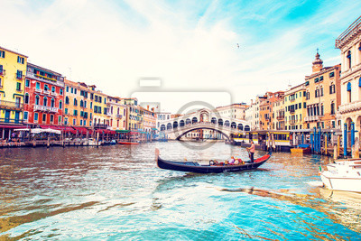 magical landscape with gondola on the Grand Canal in Venice, Italy. popular tourist attraction. Wonderful exciting places. (vacation, rest - concept)