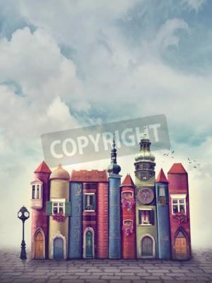 Poster Magische Stadt mit alten Büchern