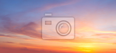 Poster Majestic real sunrise sundown sky background with gentle colorful clouds