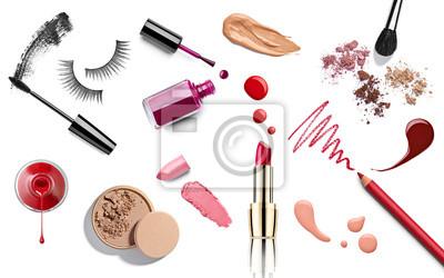 Poster make up beauty lipstick nail polish liquid powder mascara pencil