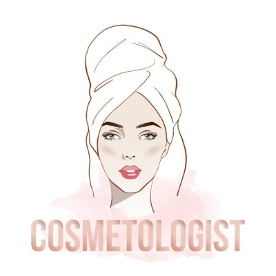Poster Makeup artist or cosmetologist business card. Vector template with woman Portrait beautiful in white bath towel. Fashion and beauty. Template Vector. Spa treatments. Skin care. Beauty spa concept.