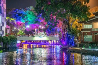 MALACCA, MALAYSIA - DECEMBER 28, 2019: City lights and bridge at night