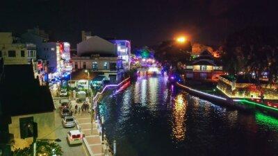 MALACCA, MALAYSIA - DECEMBER 29, 2019: Malacca aerial view at night, Malaysia