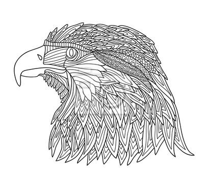 Malbuch Für Erwachsene Und Kinder Brutaler Adler Mit Zentangle