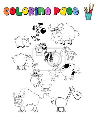 Malvorlage mit nutztieren wandposter • poster billy, oink, säen ...
