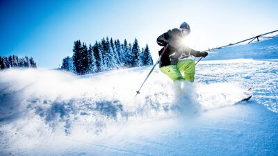 Poster Man Skifahren Downhill