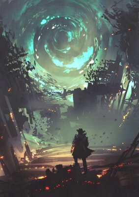 Poster man with futuristic arm looking at glowing spiral wind over the ruined city, digital art style, illustration painting