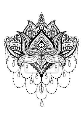 Mandala Blume Zeichnen Orientalischer Mustervektor Wandposter