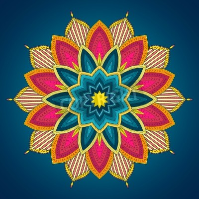 Poster Mandala. Ethnic lace round ornamental pattern. Beautiful hand drawn flower. Can be used to fabric design, decorative paper, web design, embroidery, tattoo, etc.