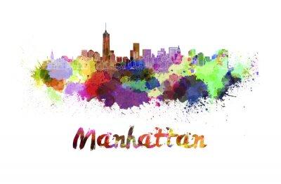 Poster Manhattan-Skyline im Aquarell