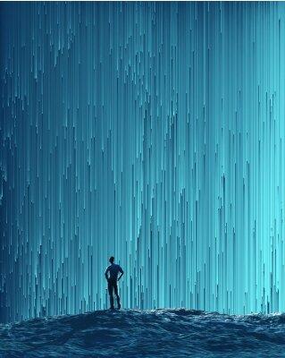 Poster Mann, der einen digitalen Fluss betrachtet