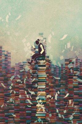 Poster Mann liest Buch beim Sitzen auf Stapel von Büchern, Wissenskonzept, Illustration Malerei